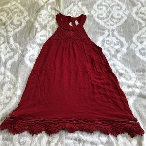 Red/Burgundy Lace Trimmed Halter Tank Top